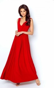Czerwona sukienka Ivon z dekoltem w kształcie litery v