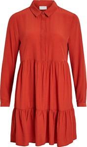 Sukienka Vila koszulowa z długim rękawem mini