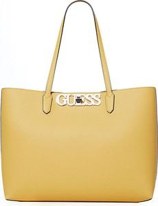 Żółta torebka Guess matowa duża ze skóry