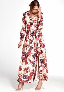 Sukienka NIFE z długim rękawem maxi z dekoltem w kształcie litery v