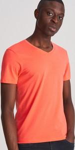 Pomarańczowy t-shirt Reserved z krótkim rękawem
