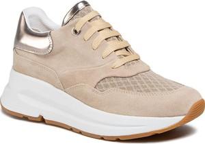 Brązowe buty sportowe Geox z płaską podeszwą z zamszu sznurowane