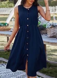 Niebieska sukienka Cikelly w stylu casual z dekoltem w kształcie litery v