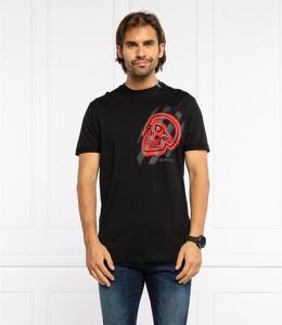 Czarny t-shirt Philipp Plein z nadrukiem z krótkim rękawem w młodzieżowym stylu