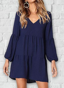 Niebieska sukienka Sandbella z długim rękawem w stylu casual mini