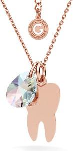 GIORRE SREBRNY NASZYJNIK ZĄB SWAROVSKI GRAWER 925 : Kolor kryształu SWAROVSKI - Crystal AB, Kolor pokrycia srebra - Pokrycie Różowym 18K Złotem