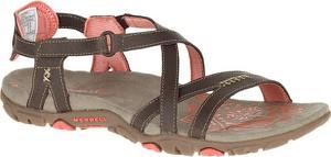 Brązowe sandały Merrell ze skóry z klamrami