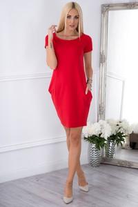 Czerwona sukienka Fasardi z bawełny dopasowana w młodzieżowym stylu