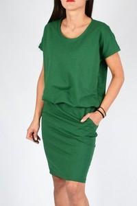 Zielona sukienka Collibri z okrągłym dekoltem midi z krótkim rękawem