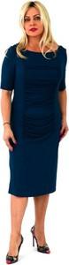 Niebieska sukienka Roxana - sukienki z długim rękawem midi