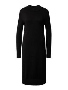 Czarna sukienka Vila z dzianiny w stylu casual z długim rękawem