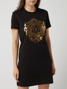 Czarna sukienka Versace Jeans z okrągłym dekoltem z krótkim rękawem z dżerseju