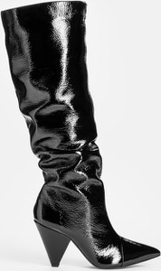 Czarne kozaki Kazar w stylu glamour ze skóry na obcasie