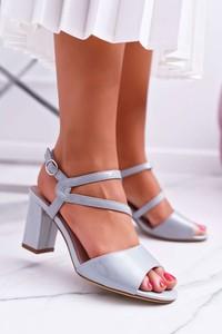Niebieskie sandały Sergio Leone ze skóry z klamrami