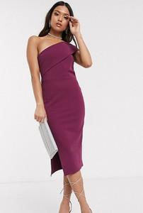Fioletowa sukienka Missguided Petite bandażowa midi