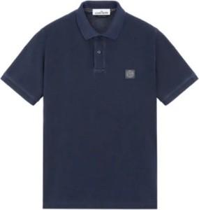 Niebieska koszulka polo Stone Island w stylu casual z bawełny z krótkim rękawem