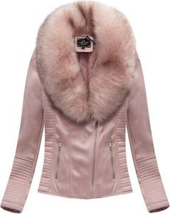 Różowa kurtka Libland ze skóry ekologicznej w rockowym stylu
