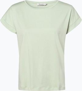 Zielony t-shirt März w stylu casual z krótkim rękawem z bawełny