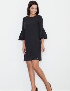Czarna sukienka Figl mini z długim rękawem trapezowa