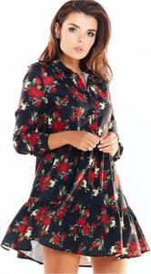 Sukienka Awama mini z długim rękawem koszulowa