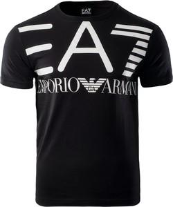 Czarny t-shirt EA7 Emporio Armani z krótkim rękawem w młodzieżowym stylu