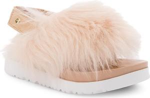 Różowe buty dziecięce letnie ugg australia z wełny