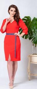 1caef351e3 Czerwona sukienka Kokito midi z tkaniny z długim rękawem