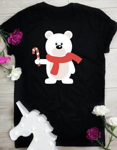 Czarna bluzka Time For Fashion z okrągłym dekoltem w bożonarodzeniowy wzór z krótkim rękawem