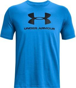 Niebieski t-shirt Under Armour z dżerseju w sportowym stylu