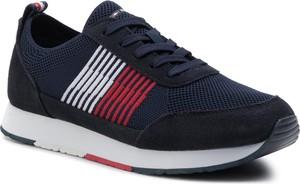 Granatowe buty sportowe Tommy Hilfiger sznurowane ze skóry ekologicznej