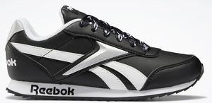 Czarne buty sportowe Reebok Fitness sznurowane ze skóry z płaską podeszwą