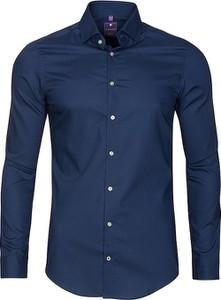 Niebieska koszula Redmond z bawełny z długim rękawem
