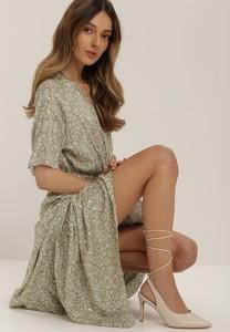 Miętowa sukienka Renee z długim rękawem