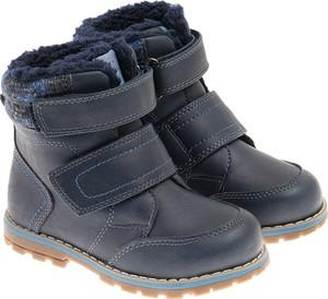 Granatowe buty dziecięce zimowe Cool Club dla chłopców na rzepy