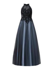 Granatowa sukienka Mascara z szyfonu