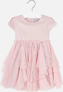 Różowa sukienka dziewczęca Mayoral z bawełny