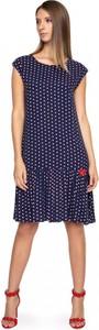 Granatowa sukienka L'AF z okrągłym dekoltem
