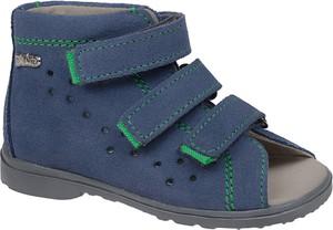 Granatowe buty dziecięce letnie DAWID na rzepy
