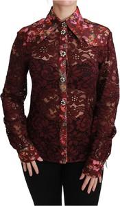 Czerwona bluzka Dolce & Gabbana z dekoltem w kształcie litery v z długim rękawem