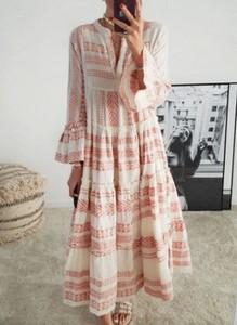 Sukienka Cikelly w stylu boho z dekoltem w kształcie litery v z szyfonu