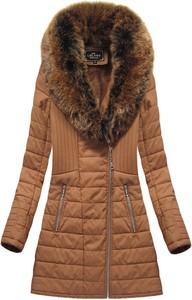 Brązowy płaszcz Libland długa ze skóry ekologicznej w stylu casual
