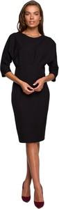 Czarna sukienka Style z dekoltem w łódkę ołówkowa midi
