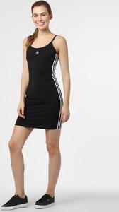 Czarna sukienka Adidas Originals z okrągłym dekoltem w sportowym stylu mini