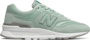 Zielone buty sportowe New Balance z zamszu z płaską podeszwą