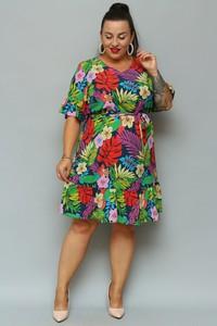 Sukienka KARKO z krótkim rękawem z tkaniny