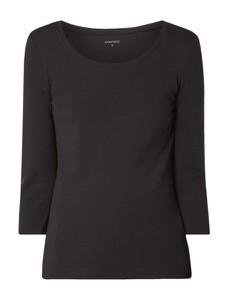 Czarna bluzka Montego z okrągłym dekoltem w stylu casual z bawełny