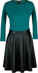 Zielona sukienka Fokus w rockowym stylu mini ze skóry