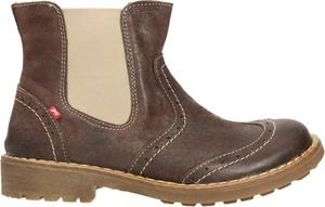 Brązowe buty dziecięce zimowe EMEL ze skóry
