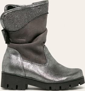 Srebrne buty dziecięce zimowe Kornecki na zamek