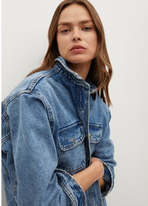 Kurtka Mango krótka w stylu casual z jeansu